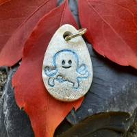 Silberanhänger mit eingeprägtem Oktopus, 999 Silber, mattiert mit Glitzereffekt Bild 4