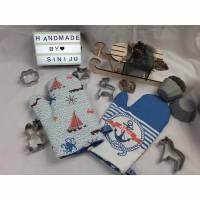 Ahoi, Ankerliebe,  Ofenhandschuh, Backofenhandschuh  , Geschenk für die Hobbybäckerin Bild 1