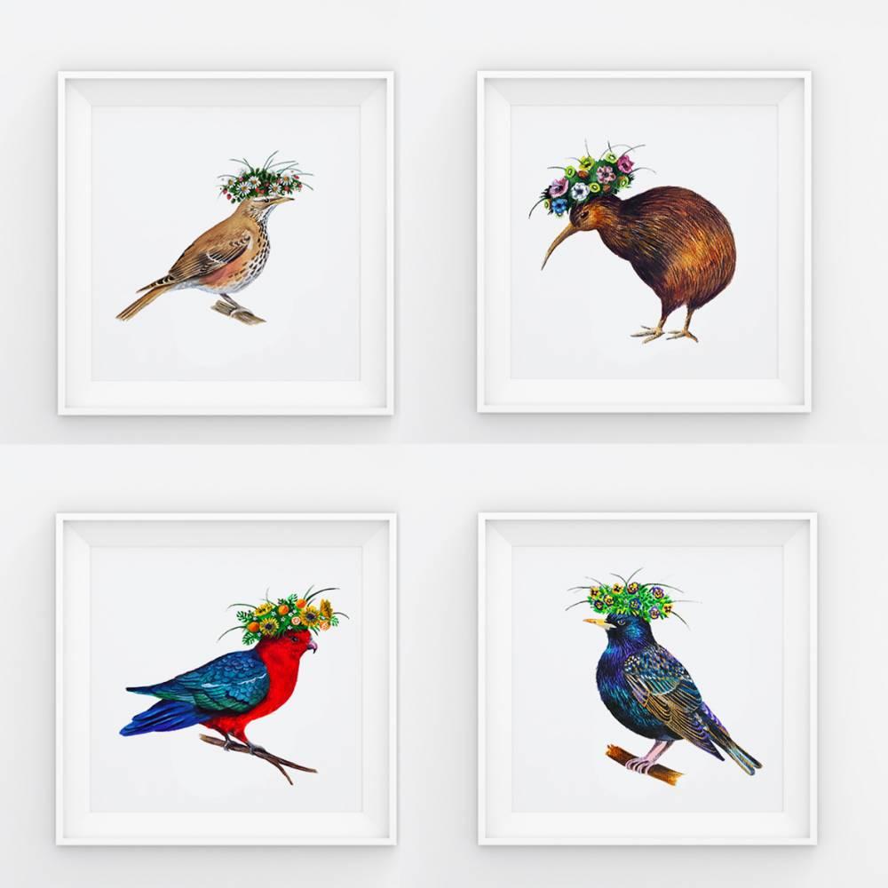 Set aus 4 Aquarellbilder mit Blumenkränzen, 300 g/m2 papier, 21 x 21 cm Bild 1