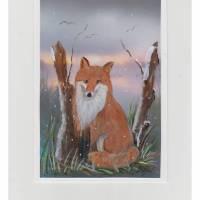 Grußkarte/ Tierbild-    Fuchs im Schnee-  handgemalt Bild 1