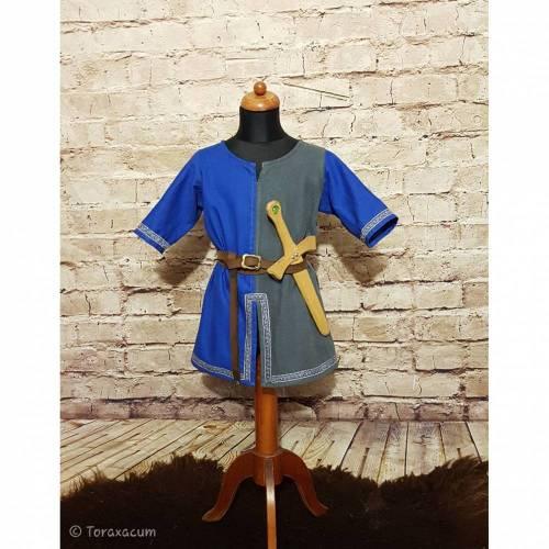 Leinen Tunika für Ritter und Wikinger, Ritterhemd blau grau, LARP Kostüm, Weihnachten