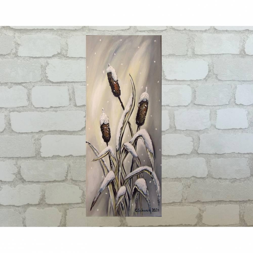 Verschneite Rohrkolben - romantisches Winterbild auf Leinwand mit Strukturpaste 30cmx70cm Bild 1