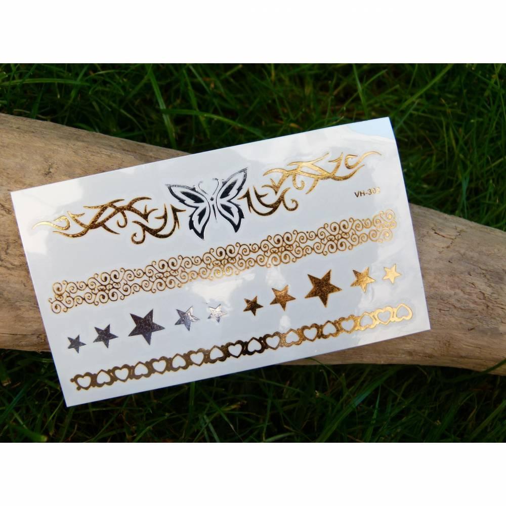 Nr. 015 - temporäres Tattoo * Goldfarben * Silberfarben * Metallic * Stern * Boho * Schmetterling * Körperschmuck * Haut Bild 1