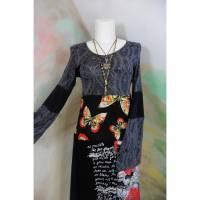 Kleid 44 - 46 Tunika Handmade Upcycling Unikat schwarz rot Schmetterlinge XL XXL Übergröße Jerseykleid Upcycled dress Bild 1