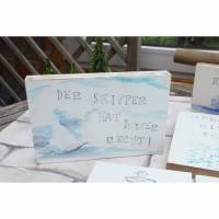 Maritimes Bild : Der Skipper hat immer Recht (Stempelbild auf OSBplatte) Bild 1
