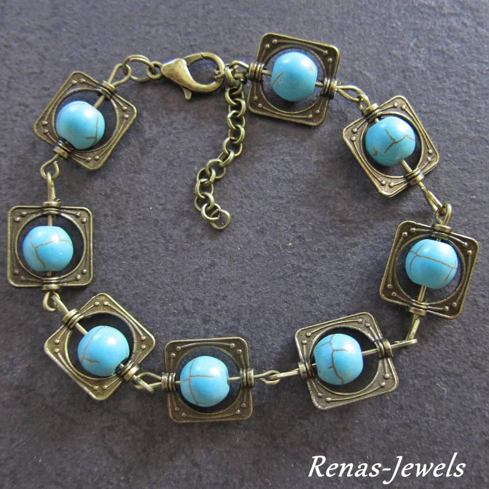 Edelstein Armband Türkis Perlen blau bronzefarben  Bild 1