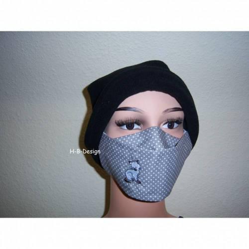 Behelfsmaske mal anders mit aufgestickter Katze, 2lagig für Damen und Jugendliche, Pünktchen grau, waschbar bis 60°