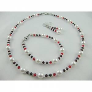 Set Weiß / Rot Kette Armband Ohrringe (431)