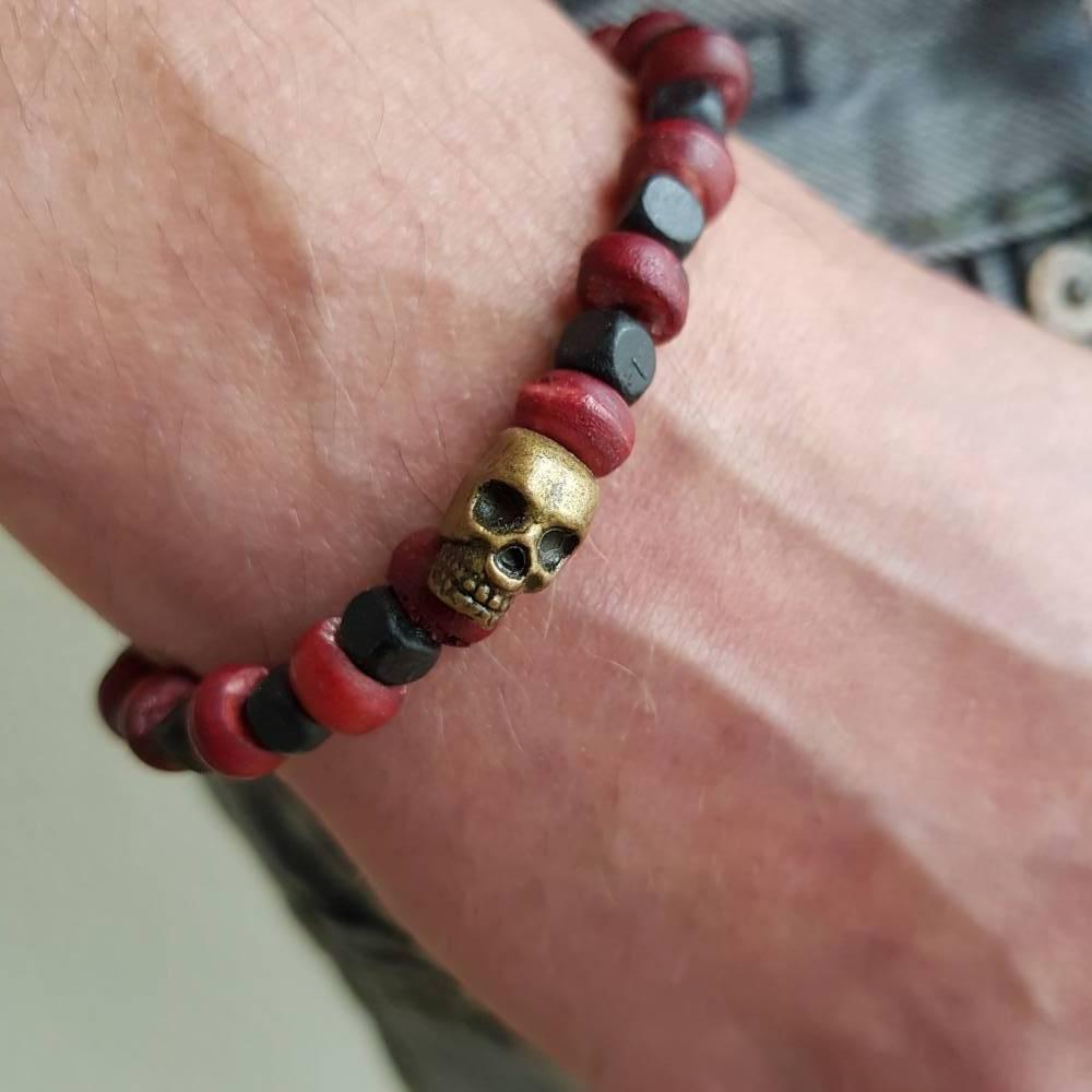 Holz Surfer Armband, Perlen, rot, Männer Frauen Unisex Geschenk Damen Biker Schmuck Boho Elefant Yoga Tibet  Bild 1