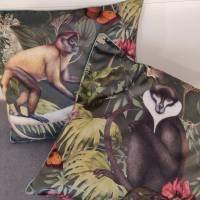 Dekokissen Samtkissen Dschungel in grün mit Paspel 50 x 50 cm Bild 1
