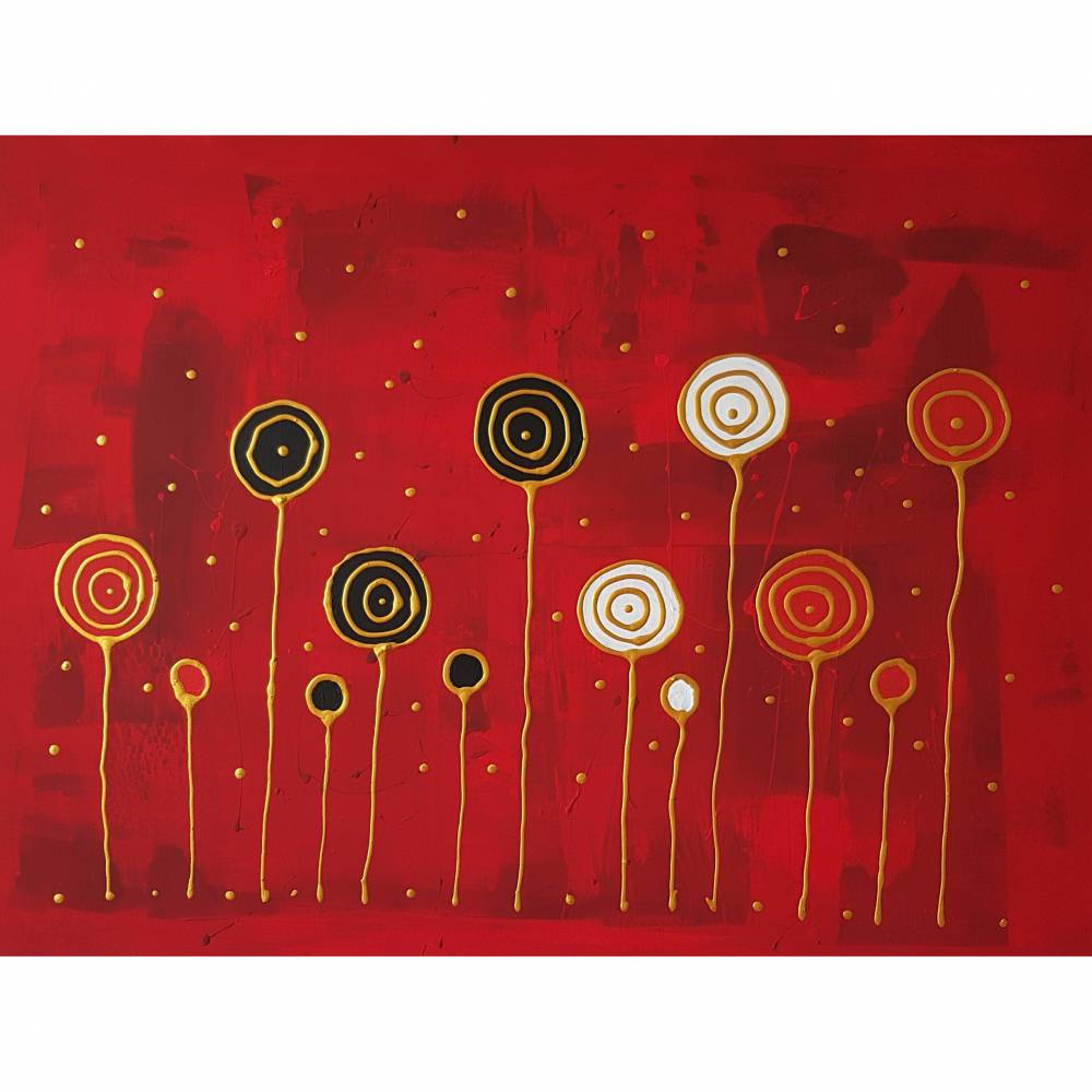 Acrylbild Blumen Abstrakte Malerei auf Leinwand Bild Handgemalt mit Acrylfarben Unikat Bild 1