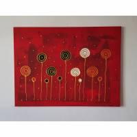 Acrylbild Blumen Abstrakte Malerei auf Leinwand Bild Handgemalt mit Acrylfarben Unikat Bild 2