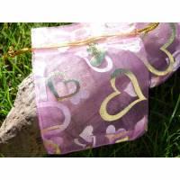 10 rosane Organzasäckchen 7x9 cm * goldene Herzen * Geschenksäckchen * Schmucksäckchen * Geschenkverpackung Bild 1