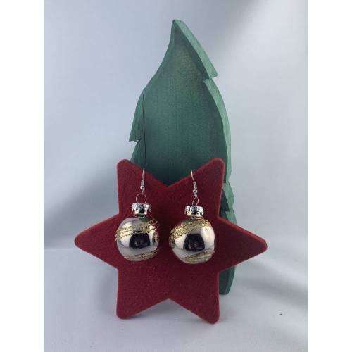 3cm, goldfarbe. glänzende Weihnachtskugel-Ohrringe mit Spirale * Weihnachtsohrringe * Weihnachtskugelohrringe * Christba
