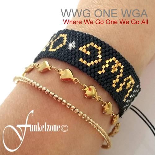 Peyote Armband | WWG ONE WGA | Peyotetechnik mit Miyuki Delicas gold plated | Schiebeknoten | Macrame | Design 1B