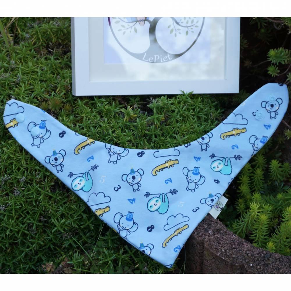 Halstuch Junge Hellblau mit Tiermotiven Bild 1
