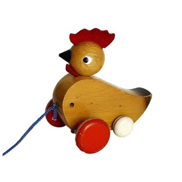 Vintage Holzspielzeug / Nachziehspielzeug Huhn Hahn Bild 1