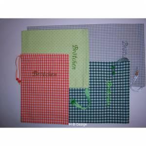 Brötchenbeutel in Punkte-grün zum einkaufen, aus Baumwolle, verschiedene Größen, Aufschrift gestickt, waschbar bis 40°