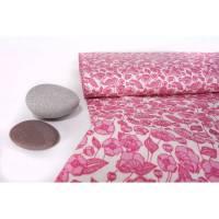Baumwollstoff Klatschmohn pink auf weiß 0,5 m Bild 1
