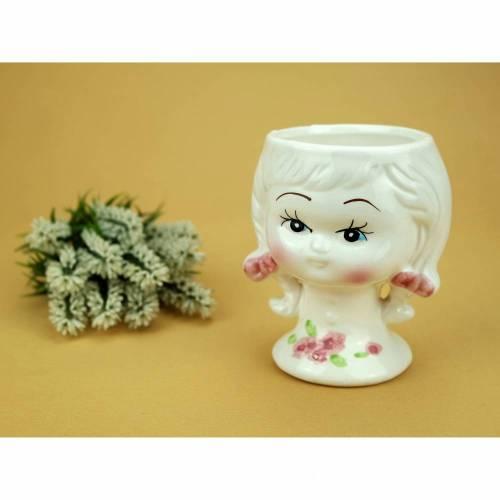 Vintage - Alter Übertopf Blumentopf Bubikopf Gesicht Kopf Mädchen Weiß Rosa