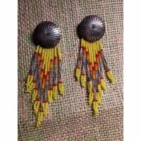 Ohrringe, Ohrhänger, 925/1000 , gelb-grau, Navajo Bild 1