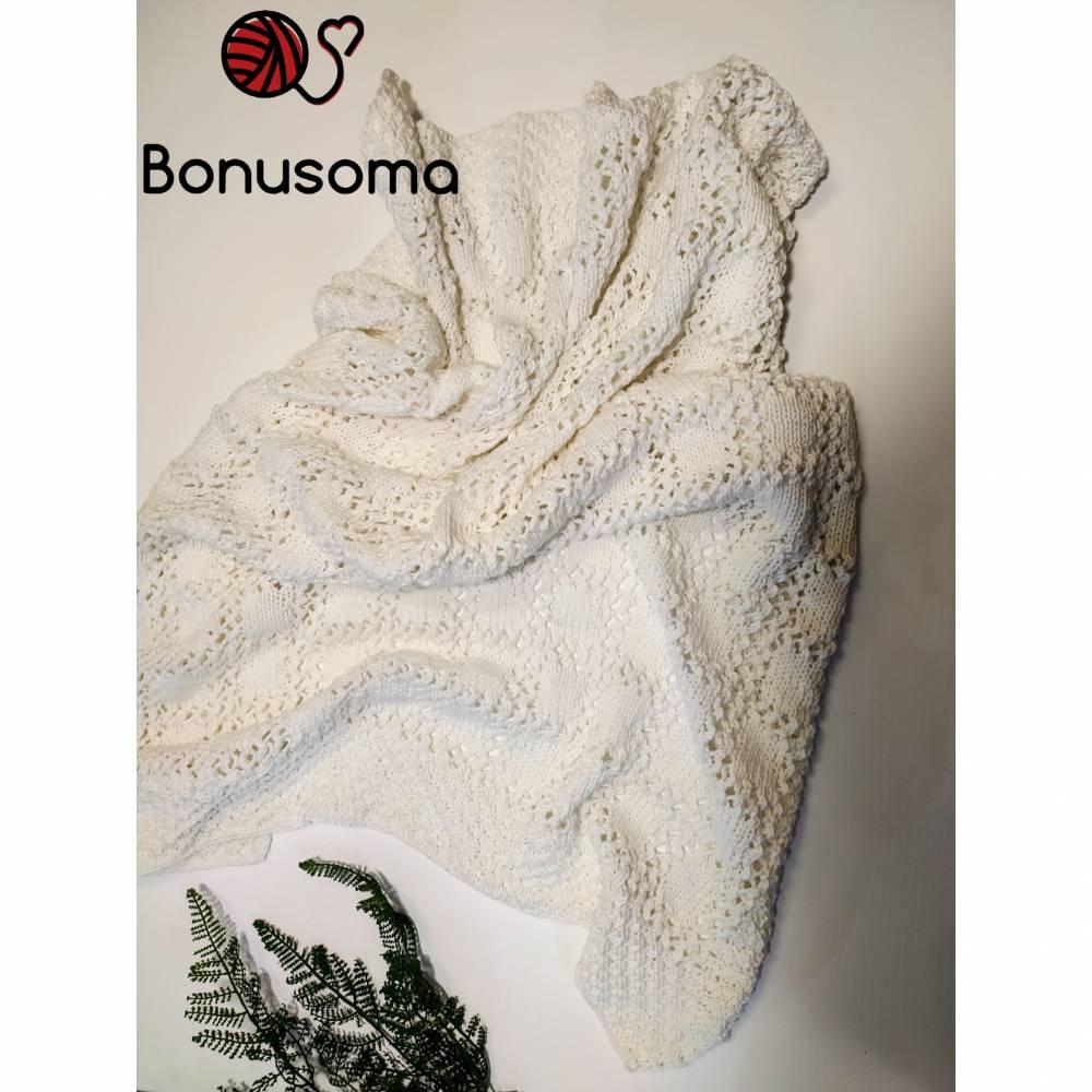 Babywolldecke  Baumwolle/ Schurwolle  cremeweiß handmade Bild 1