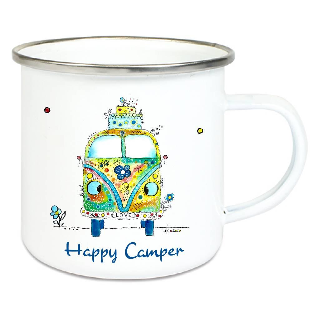 Emaille-Becher Emaiile-Tasse Happy Camper, Tasse Outdoor Wanderer Hippie-Bus Bild 1