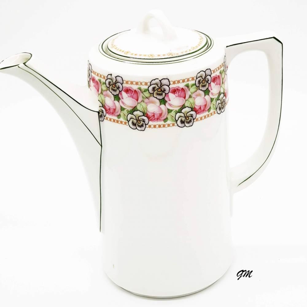 Vintage, Kaffeekanne Rarität um 1900 sehr gut erhalten, Porzellan Kaffeekanne mit Blumenmuster, Handarbeit Bild 1
