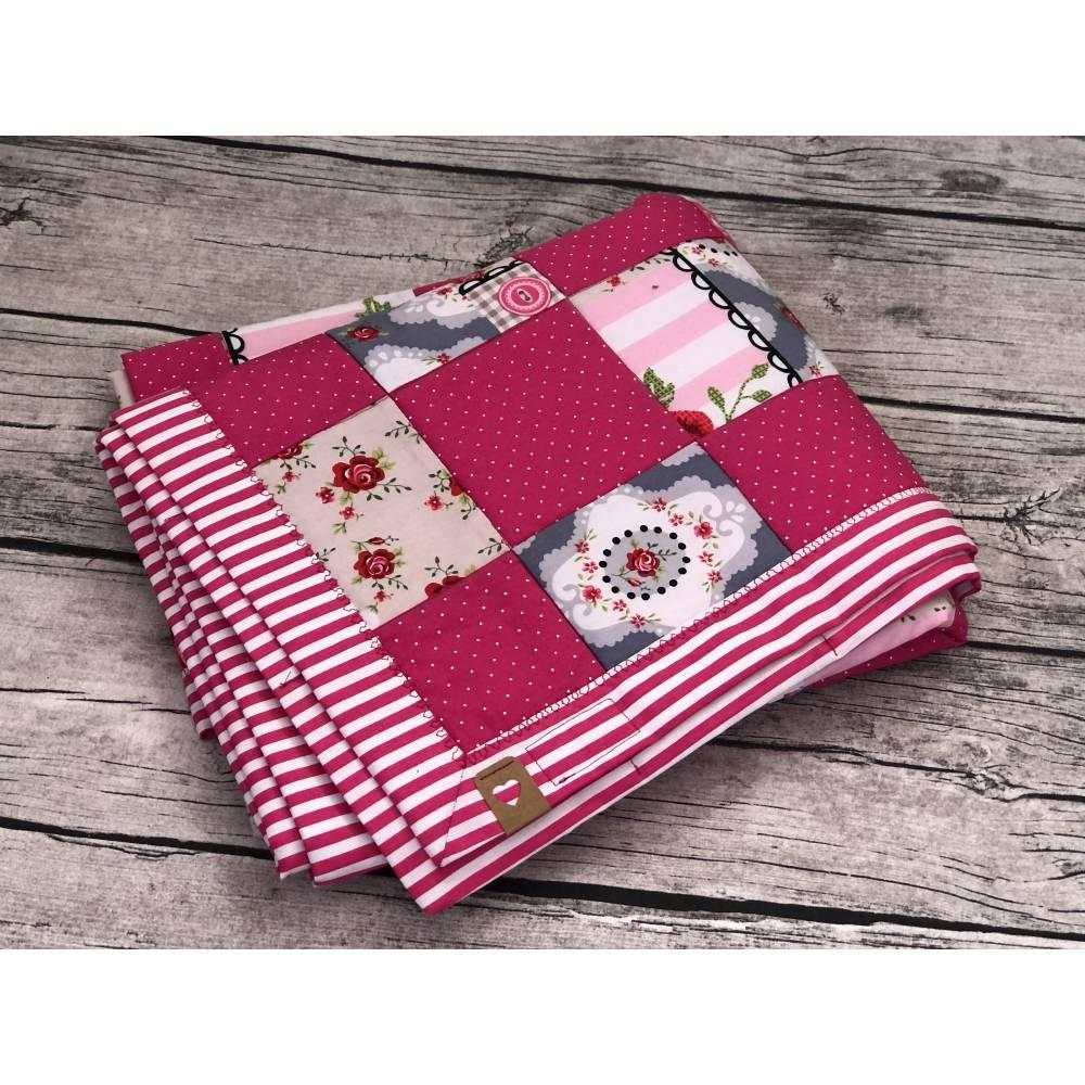 zauberhafte Babydecke / Kinderdecke Pink Blumen Bild 1