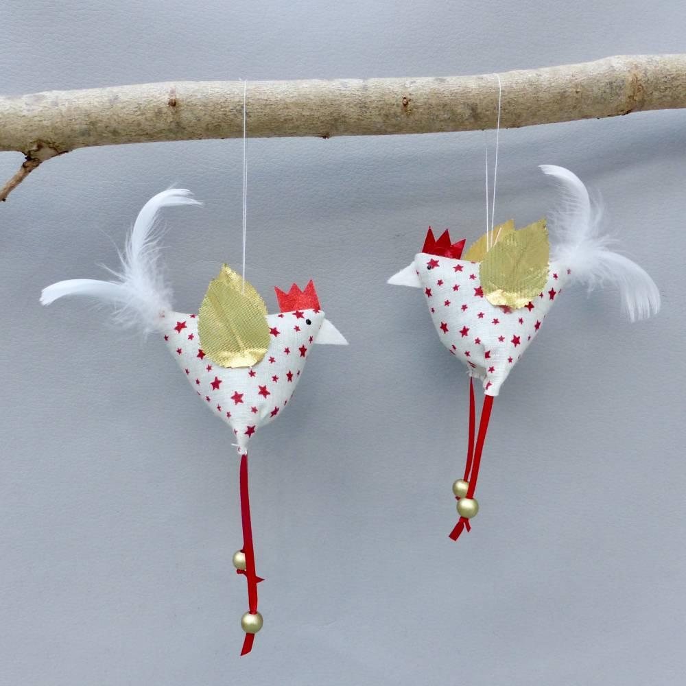 2 Christbaumschmuck-Hühner *crazy Christmas-Chicken*  Weihnachtsdeko, Stoffhühner für Weihnachten Bild 1