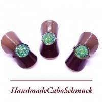 12mm Cabochon Ring - druzy grün, Edelstahl, Schwarz, Bronze Bild 1