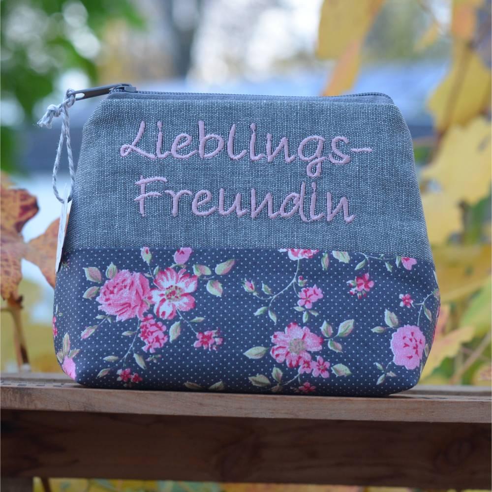 Lieblings-Freundin Kosmetiktäschchen  Schminktäschchen Blumen Bild 1
