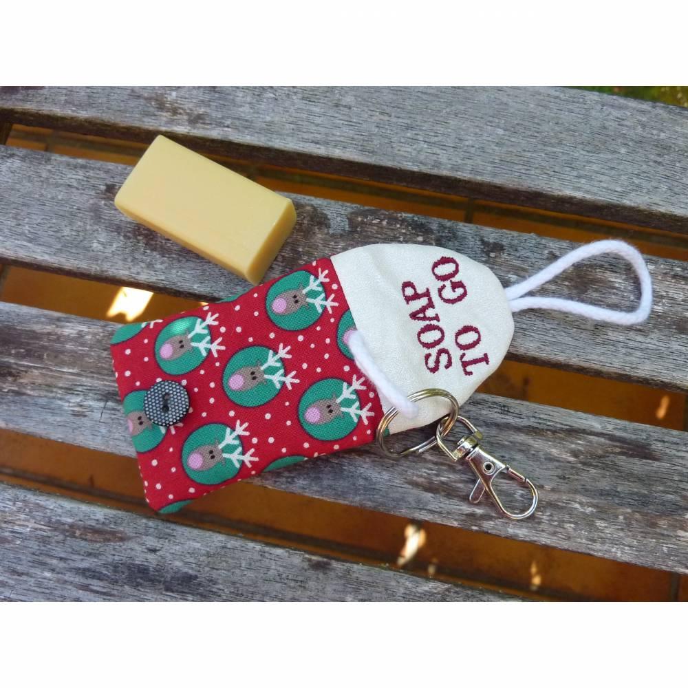 Seifentäschchen Schlüsselanhänger Seife Tasche Weihnachten Geschenk Rentier Bild 1