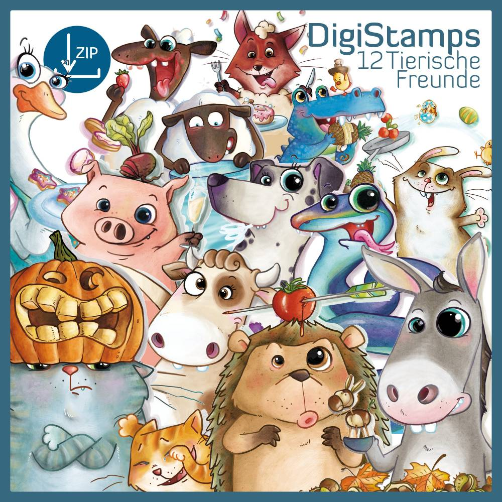 DigiStamps Tierische Freunde Sofortdownload, Digi-Stamps, Digitaler Stempel, Tiere, Fuchs, Katze, Igel, Esel Bild 1
