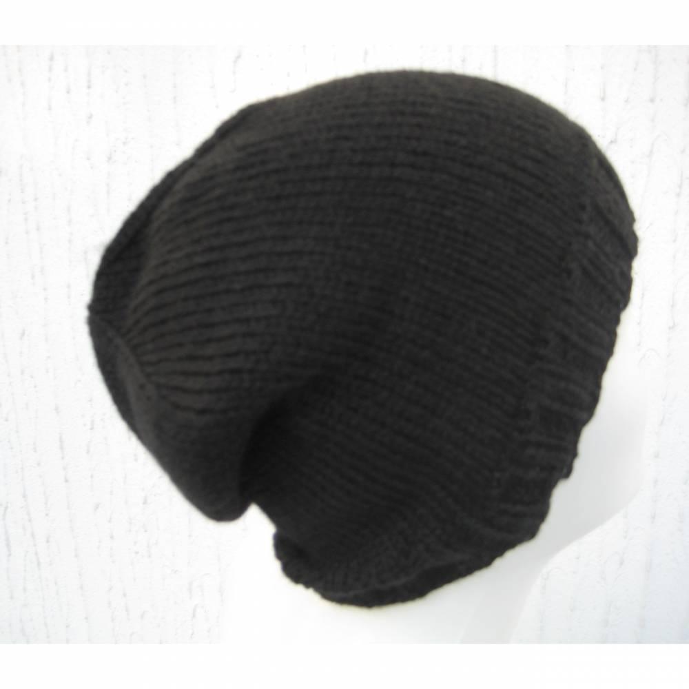 Gestrickte Männermütze in Schwarz kuschelig weich mit 8 % Kaschmir Größe M/L Bild 1