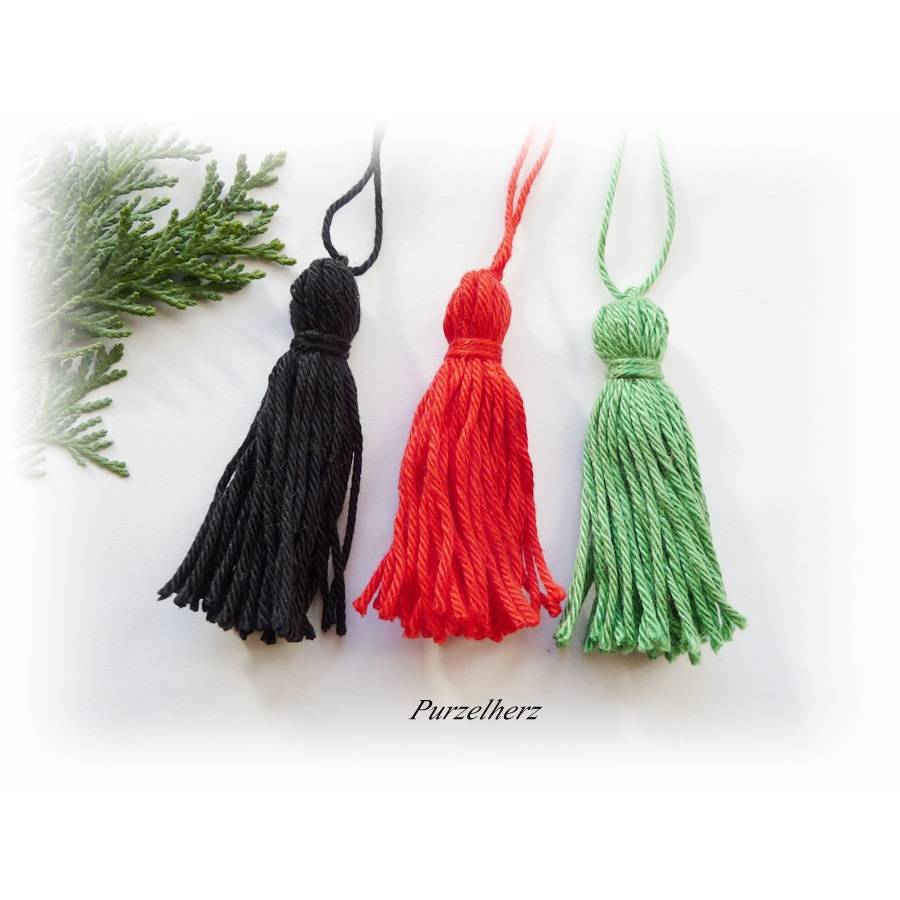 3 Quasten aus Baumwollgarn handgefertigt, 3 Farben zur Wahl - Weihnachten,Troddel,Baumwollquaste,schwarz,rot,grün  Bild 1