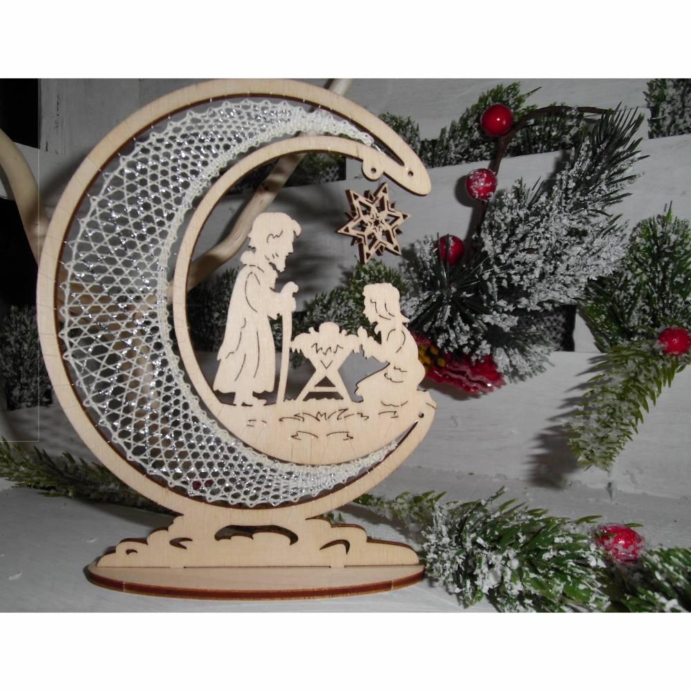 Kleiner Aufsteller Mondsichel mit Krippe Klöppelspitze Handarbeit traditionelle Handwerkskunst Bild 1
