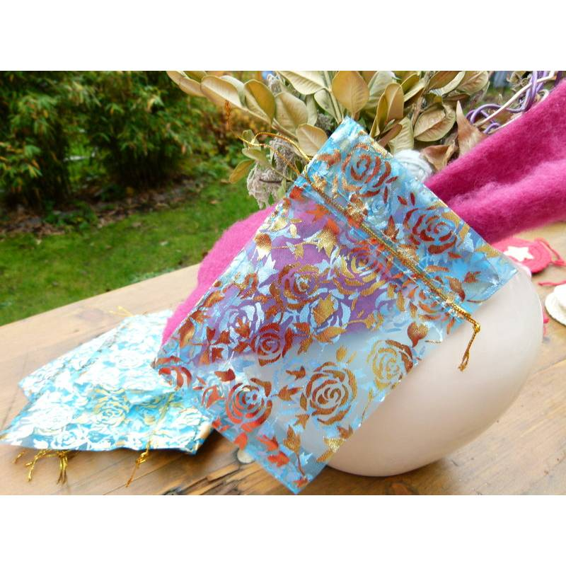 30 türkise/himmelblaue Organzasäckchen 11 x 16 cm * Organzasäckchen * Geschenksäckchen * Geschenkbeutel * Geschenkverpac Bild 1
