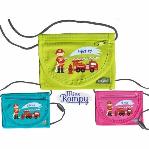 MissRompy | Brustbeutel Feuerwehr (834) Umhängebeutel breast bag Wunschname Klarsichtfach für Busfahrkarte Geldbeutel