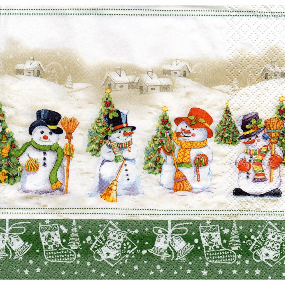 Weihnachten   /   Winter   5 Servietten / Motivservietten  Schneemänner W 222 Bild 1