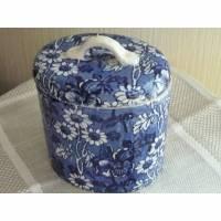 Keramik Dose oval Vorratsgefäß vintage blau weiß Blumen Staffordshire Louis 14 th Bild 1