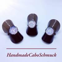 12mm Cabochon Ring - druzy silber, Edelstahl, Schwarz, Bronze Bild 1