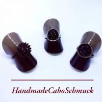 12mm Cabochon Ring - druzy schwarz, Edelstahl, Schwarz, Bronze Bild 1
