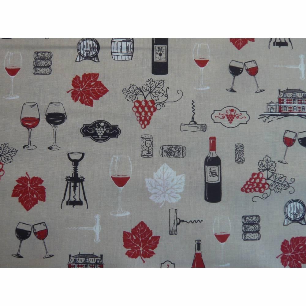 11,10 EUR/m Baumwollstoff Wein, Weinflaschen, Weintrauben auf hellbeige Bild 1