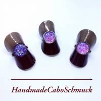 12mm Cabochon Ring - druzy lila, Edelstahl, Schwarz, Bronze Bild 1