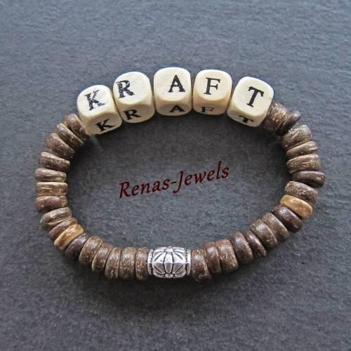 "Holzarmband Holzperlen Armband Kokosnuss Perlen braun beige Würfel ""KRAFT"""
