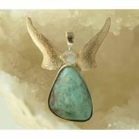 Mondstein Larimar Anhänger Engel in Silber gefasst mit Silberflügel, Schutzengel  Bild 1