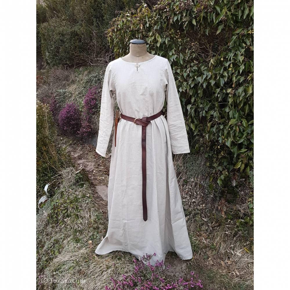 Wikinger Leinen Kleid, Unterkleid Mittelalter, Leinenkleid natur, Reenactment, Cosplay, LARP Bild 1