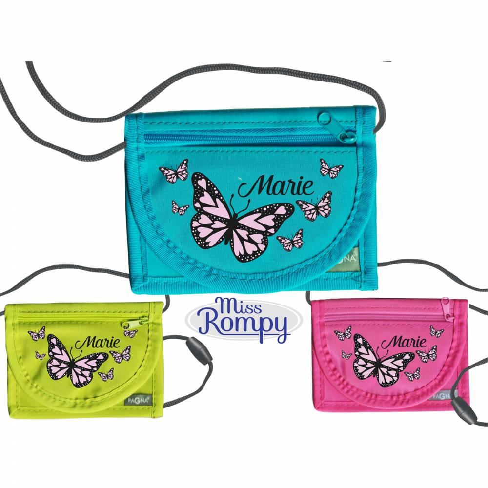 MissRompy | Brustbeutel Schmetterlinge (780) Umhängebeutel breast bag Wunschname Klarsichtfach f. Busfahrkarte Geldbörse Bild 1