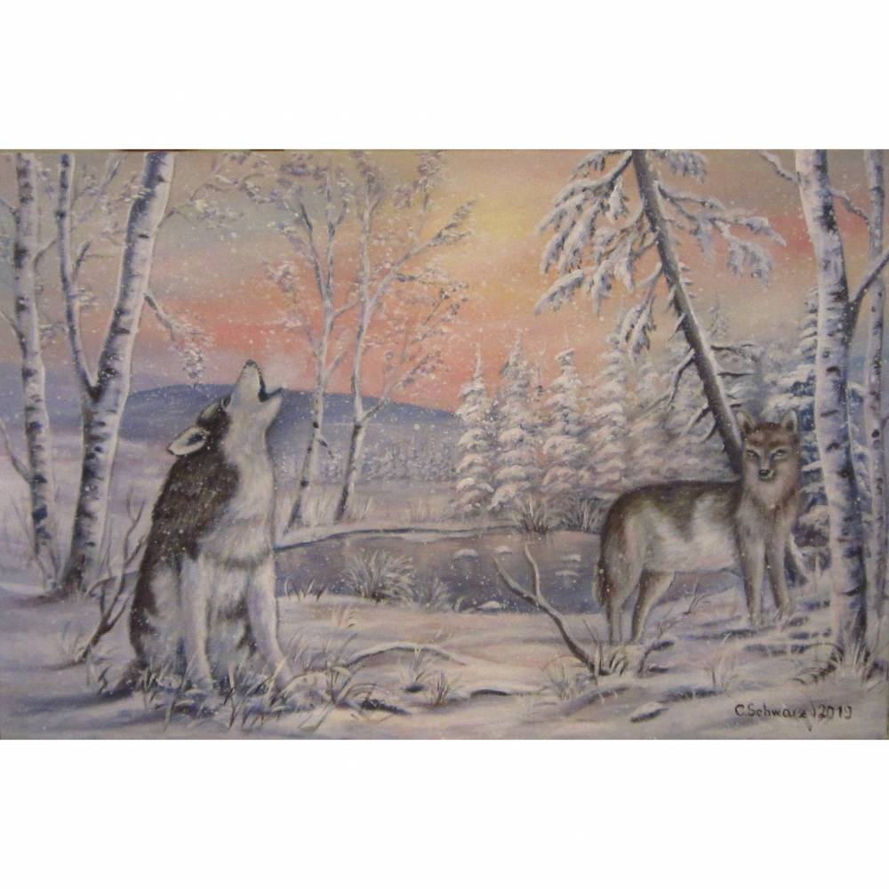 WILD AND FREE - Acrylgemälde auf Leinwand 90cm x 60cm -  Wölfe in einer Schneelandschaft mit Birken  Bild 1